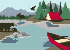 Camping mural. Could pull many different boy/girl themes together in a camping mural.