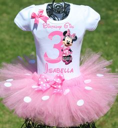 Minnie Mouse Birthday Party Ideas | Minnie Birthday Tutu Outfit | Minnie Mouse Birthday Shirt | Birthday Party Ideas for Girls | Minnie First Birthday Ideas | Minnie First Birthday Outfit | Minnie Tutu Outfit | Twistin Twirlin Tutus #birthdaypartyideas #minniemousebirthday #minniebirthday  http://www.twistintwirlintutus.com/collections/tutuoutfits/products/light-pink-minnie-mouse-birthday-outfit#content