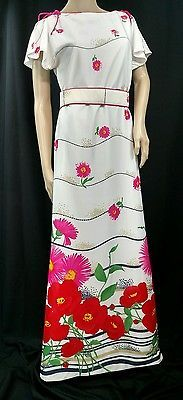 LOOK! Amazing VTG  60's Multi Color Floral Print Dress By Willi Of California M