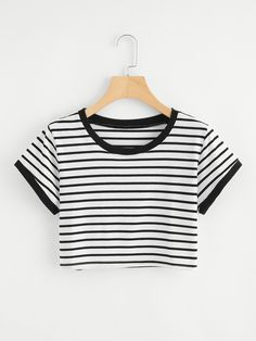 Striped Ringer Crop TeeFor Women-romwe Source by rxmimartinez outfits indian Girls Crop Tops, Cute Crop Tops, Crop Top Shirts, Crop Shirt, Crop Tops For Tweens, Cute Comfy Outfits, Cool Outfits, Belly Shirts, Summer Outfits For Teens
