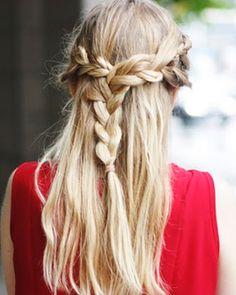 half up braids.