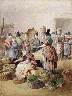 Sketch of Swansea market by E. Hull, 1871 (watercolour)