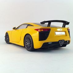 Yellow Lexus LFA with black wheels and spoiler! Looks Awesome!