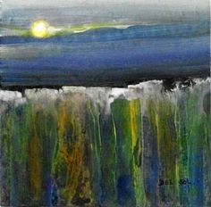 "Contemporary Abstract Landscape Painting- ""SUNSET II""- by artist Cristina Del Sol"