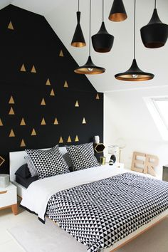 love the black wall with gold triangles! #bedroom décor, beds, headboards, four poster, canopy, tufted, wooden, classical, contemporary bedroom, nightstand, walls, flooring, rugs, lamps, ceiling, window treatments, murals, art, lighting, mattress, bed linens, home décor, #interiordesign bedspreads, platform beds, leather, wooden beds, sofabed