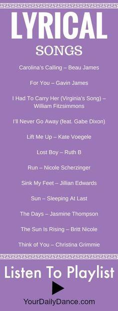 Songs - Playlist 35 Lyrical songs for dance.Lyrical songs for dance. Songs For Dance, Dance Playlist, Dance Tips, Jazz Dance, Dance Class, Dance Music, Dance Studio, Lyrical Dance Songs, Ballroom Dancing