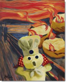famous art The Scream: Edvard Munch 1893 Pillsbury Dough Boy Parody I enjoy this remake because you can see the burning Pillsbury products in the back and this could be use for marketing a Pillsbury product Food Art, Edvard Munch, Art Lessons, Famous Artwork, Scream Art, Painting, Art, Funny Art, Famous Art