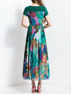 Green Short Sleeve Floral-print A-line Maxi Dress