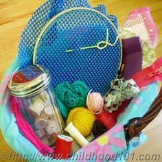 Toddler Sewing Basket - Such a fun idea to put together a sewing basket for your toddler! This post includes lots of great ideas for activities to include in the basket.