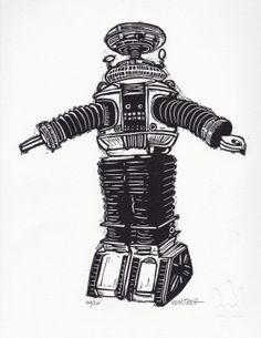 Robot Linocut Print by Eric Rewitzer 3 Fish Studios B9 Robot, Robot Art, Futuristic Robot, Cultura Pop, Linocut Prints, Design Show, Art Sketchbook, Science Fiction, Printmaking