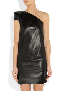Saint Laurent|Asymmetric leather dress|NET-A-PORTER.COM