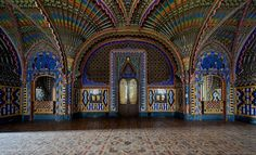 From the Department of Awesome Interiors comes the breathtakingly elaborate and colourful Peacock Room, located inside the abandoned Sammezzano Castle in Tuscany. The now derelict castle was built in Peacock Room, Peacock Decor, Non Plus Ultra, Water Tower, Toscana, Moorish, Abandoned Buildings, Skull Art, Amazing Architecture