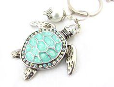 Turtle Keychain, Aqua Turtle Keyring, Beach Keychain, Car Accessory, Cute Turtle Keychain, Beach Inspired Keyring, Ocean Critter Keychain