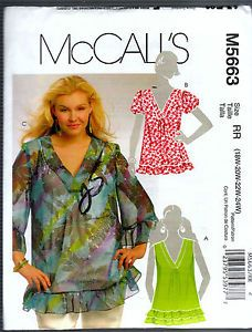 M5663  **  Misses' Tops  **  FABRICS: Lightweight Fabrics such as Challis,  Charmeuse,  Double Georgette, Silk Faille.