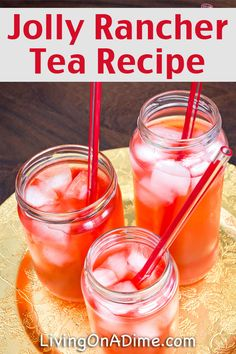 Homemade iced tea is a refreshing drink, especially on hot summer days! These homemade flavored tea recipes give you a lot of variety for tasty variations! Summertime Drinks, Summer Drinks, Fun Drinks, Healthy Drinks, Alcoholic Drinks, Beverages, Mason Jar Cocktails, Tea Cocktails, Jolly Rancher Drink