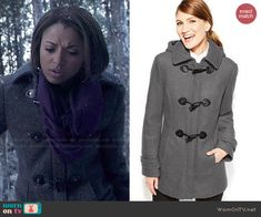 Bonnie's grey toggle coat on The Vampire Diaries.  Outfit Details: http://wornontv.net/47041/ #TheVampireDiaries
