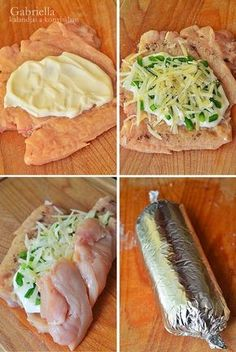 Gabriella kalandjai a konyhában :): Krémsajtos göngyölt csirkemell - Chicken breast roll filled with greek sour cream, cheese and green peppers (paprika) Easy Healthy Dinners, Easy Dinner Recipes, Healthy Dinner Recipes, Healthy Snacks, Beef Casserole Recipes, Meat Recipes, Cooking Recipes, Chicken Breast Recipes Healthy, Chicken Recipes