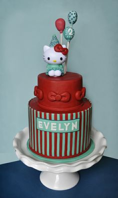 Hello Kitty Cake, Kitty is plastic dressed in fondant to match the cake - For all your cake decorating supplies, please visit craftcompany.co.uk