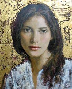 Goyo Dominguez (Spanish-British, b. Blood Art, Gold Leaf Art, Oil Portrait, Art Plastique, Face Art, Painting Techniques, Figurative Art, Painting & Drawing, Drawings