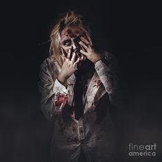 Dark halloween portrait of scary bad zombie walking through graveyard mist at night by Ryan Jorgensen