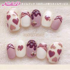 ネイル(No.1547767)|スイーツ |ハート |パール |ビジュー |アースカラー |デート |春 |夏 |マット |バレンタイン |ブラウン |ベージュ |ジェルネイル |ハンド |チップ |ショート | かわいいネイルのデザインを探すならネイルブック!流行のデザインが丸わかり! Kawaii Nail Art, Cute Nail Art, Cute Nails, Pretty Nails, Korea Nail Art, Japan Nail, Japanese Nail Art, Manicure E Pedicure, Glam Nails