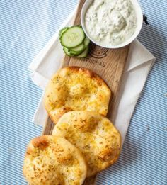 Garlic pitas with double-cream tzatziki (photograph by Tasha Seccombe)