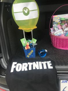 FORTNITE inspired easter basket and silhouette diy shirt.