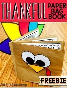 Thanksgiving Book. Use this fun interactive paper bag book for your students to share what they are thankful for. Each page of the book includes space for them to illustrate