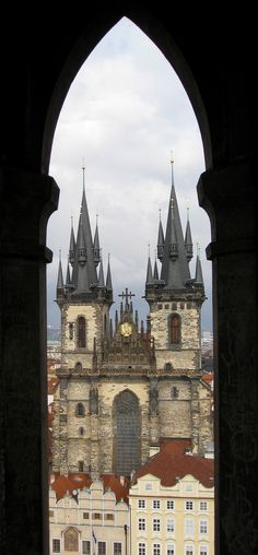 Tyn Cathedral, View  from Town Hall Tower, Prague, Czech Republic.