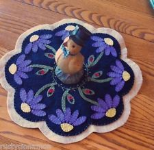 Primitive Spring penny rug/candle mat,Purple cone flowers,handstitched woolfelt