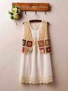 Marisa Almeida Tricot Crochet : Colete Crochet Alegria