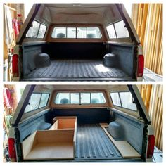 Started a customers project today. Building out the back of a 98 to be setup for On the left will be a single person sleep platform with a draws and two compartments under. On the right it will be taller like a shelf for battery storage. Truck Cap Camping, Pickup Camping, Truck Tent, Camper Beds, Truck Bed Camper, Diy Camper, Vw Bus, Truck Bed Date, Truck Toppers