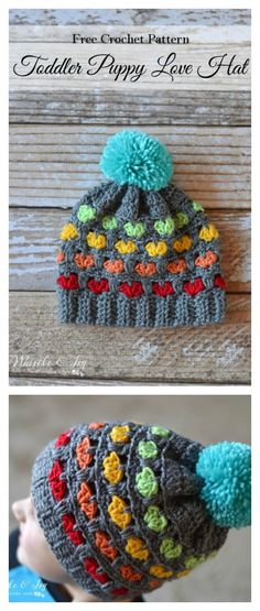 Crochet Toddler Puppy Love Hat Free Pattern