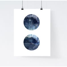 Nebula galaxy art print, round geometric art print, blue watercolor... ($12) ❤ liked on Polyvore featuring home, home decor and wall art