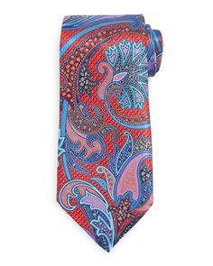 N3FUW Ermenegildo Zegna Quindici Paisley Tie, Red