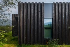 Rural Icelandic cottages by PK Arkitektar have turf roofs and burnt timber cladding Wood Facade, Timber Cladding, Types Of Cladding, Cladding Ideas, Timber Battens, Timber Roof, External Cladding, Charred Wood, Contemporary Cottage