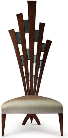 Christoper Guy  | mahogany accent chair, encrusted with emerald tinted mirrors