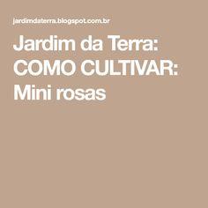 Jardim da Terra: COMO CULTIVAR: Mini rosas Plantar, Terra, Roses, Diy, Grow Strawberries, Gardening Tips, Garden Art, Daisies, Vegetable Gardening