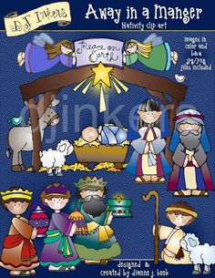 Away in a Manger, nativity clip art, Christmas clip art, Christian clip art