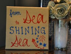 July Patriotic Burlap Independence Day Sign Song Lyric Art & sea to shining sea& Burlap Canvas Painting Fourth of July Decoration Patriotic Crafts, Patriotic Decorations, July Crafts, Holiday Crafts, Holiday Fun, Kid Crafts, Song Lyrics Art, Lyric Art, Burlap Canvas