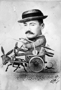 Image showing a caricature of Domino Danzero riding in a donkey or mule cart. Courtesy: Missouri State University Archives, Springfield, MO (USA).