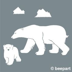 New 2017 Removable Polar Bear Wall Decal Bear Mother Bear Cub Sticker Art Arctic Vinyl Wall Animal Wall Sticker Polar Bear Outline, Polar Bear Drawing, Vinyl Wall Decals, Wall Stickers, Carved Wooden Animals, Bear Cubs, Polar Bears, Peacock Wall Art, Bear Felt