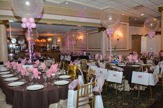 Chocolate Themed Bat Mitzvah with Pink Sparkle Balloons at Primavera Regency, NJ