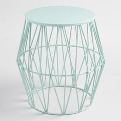 Boasting an open prism-style profile, our stool brings unique charm to your outdoor space. Finished in washed aqua, this fun piece also doubles as an accent table.