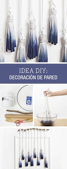 Tutorial DIY: Cómo hacer decoración de pared con borlas de flecos teñidas - Manualidades y decoración en DaWanda.es