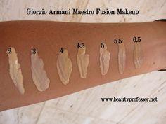 maestro foundation swatches G Armani, Giorgio Armani, Georgio Armani Foundation, Beauty Professor, Boom Boom, Swatch, School, Makeup, Kids Discipline