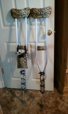This CastCoverZ! customer used ribbon to dress up her crutches, in addition to our CrutchWear crutch covers!
