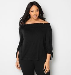 Shop tops with elastic necklines like our new plus size Off the Shoulder Tie Sleeve Top available in sizes 14-32 online at avenue.com. Avenue Store