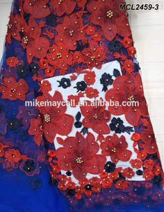 Blue 3D flower embroidery beaded lace fabric french laces in dubai tulle  lace Beaded Lace Fabric 2e0e24af3323