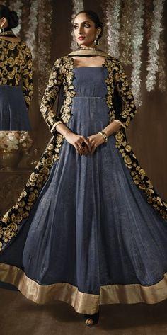 Grey Designer Anarkali Suit For Wedding Wear